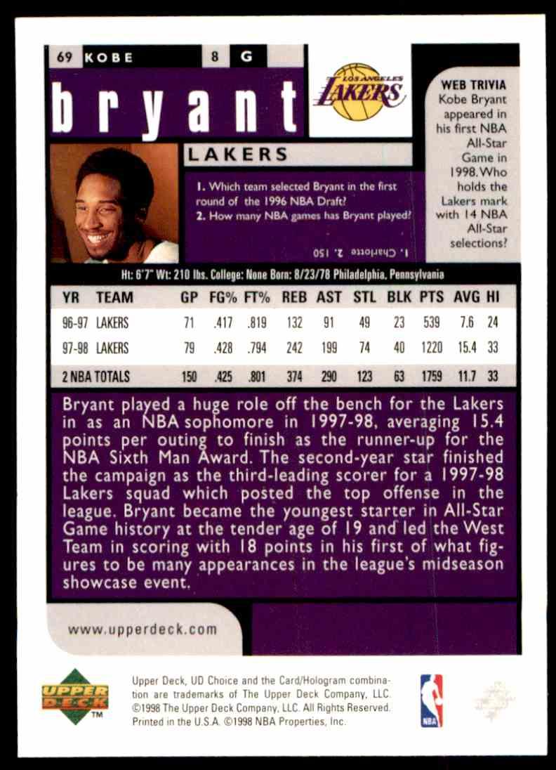 1998-99 Upper Deck Kobe Bryant #69 card front image