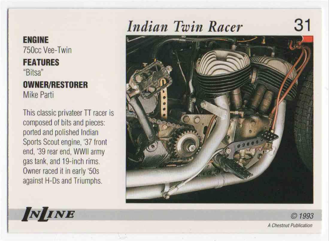 1993 InLine 1935-45 Indian Racer #31 card back image