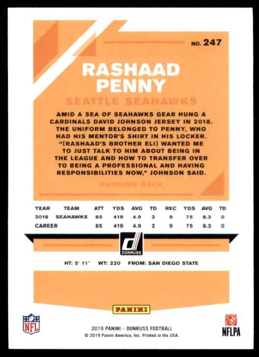 2019 Donruss Rashaad Penny #247 card back image