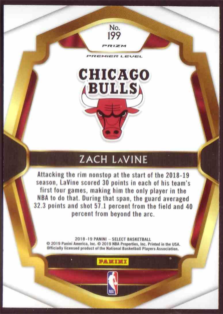 2018-19 Panini Select Premium Level Prizm Silver Zach LaVine #199 card back image