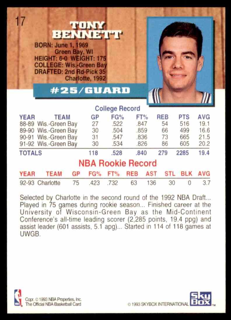 1993-94 NBA Hoops Tony Bennett #17 on Kronozio