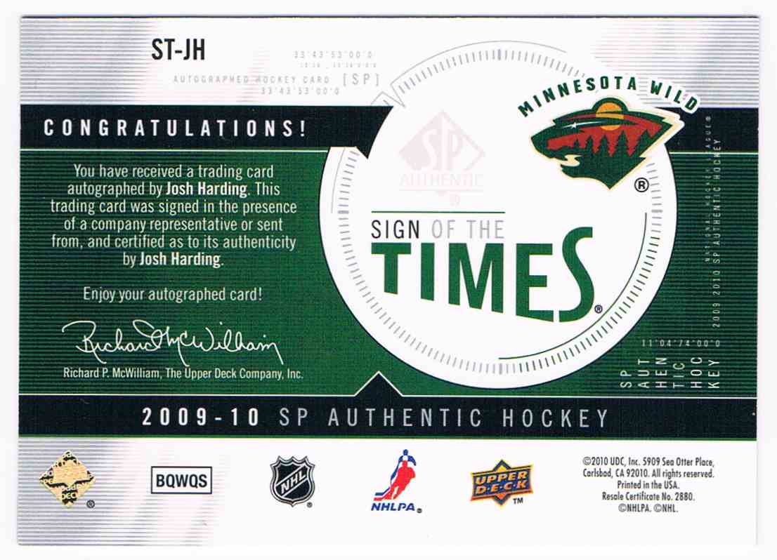 2009-10 Upper Deck SP Authentic Sign Of The Times Josh Harding #ST-JH card back image