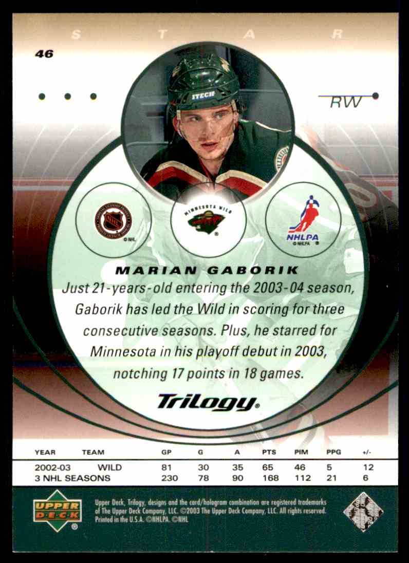 2003-04 Upper Deck Marian Gaborik #46 card back image