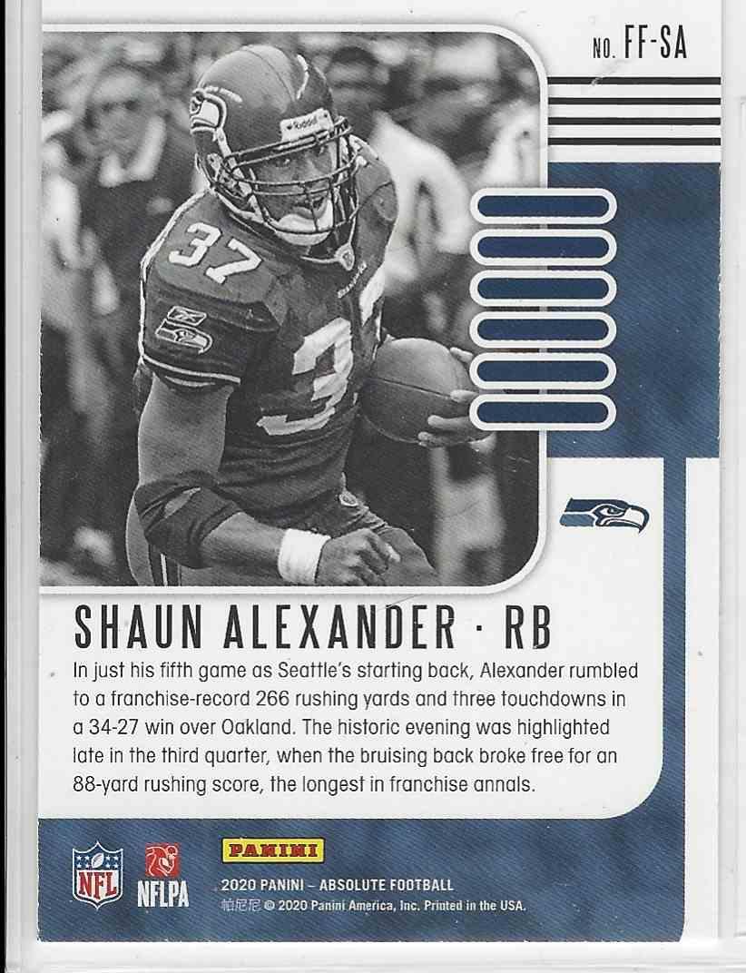 2020 Panini Playoff Absolute Memorabilia Flashback Shaun Alexander #FF-SA card back image