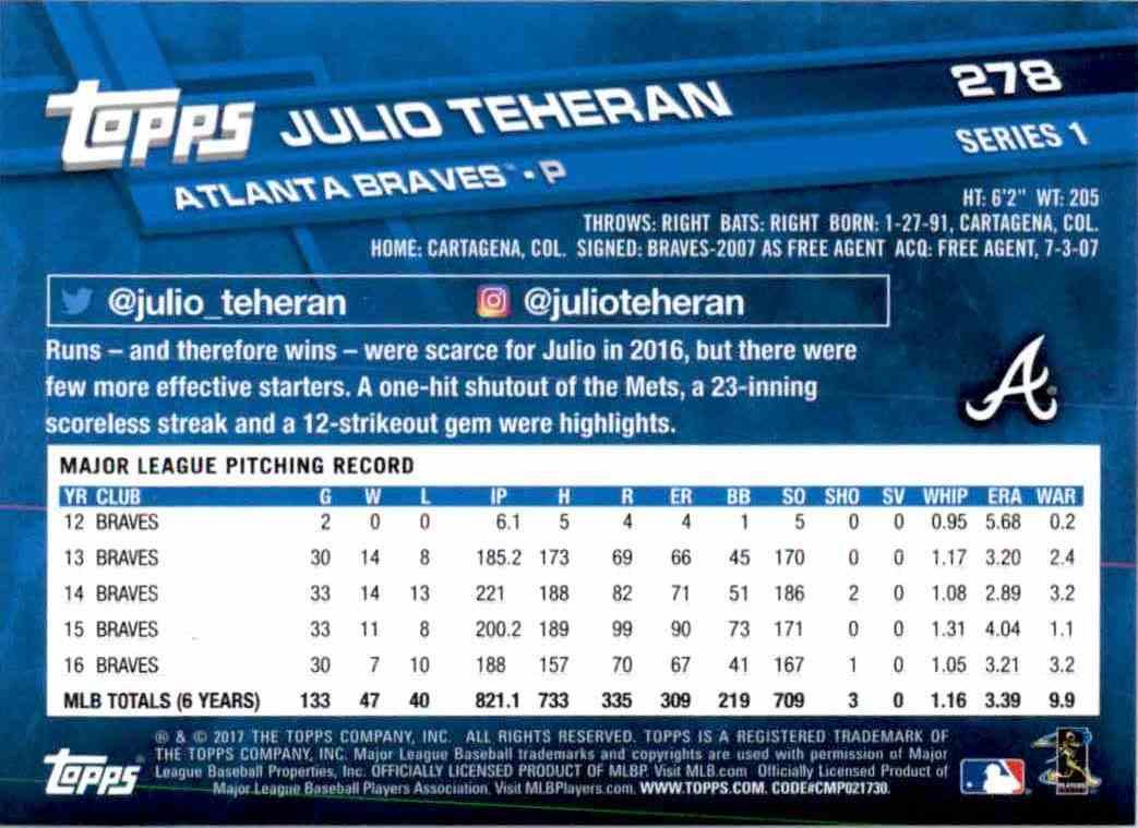 2017 Topps Series 1 Julio Teheran #278 card back image