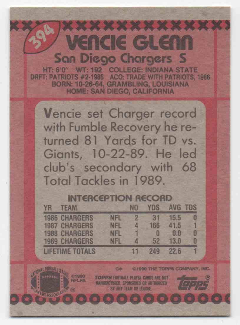 1990 Topps Vencie Glenn #394 card back image