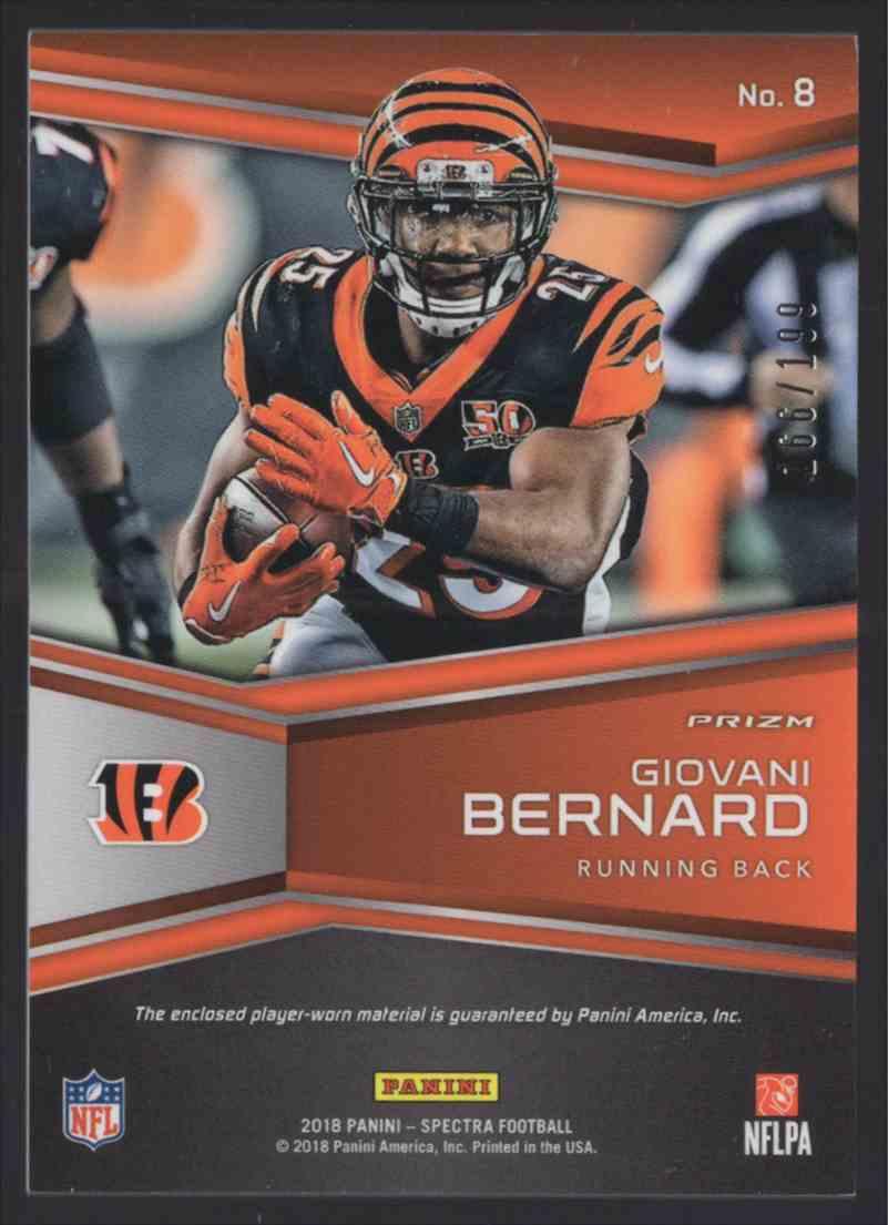2018 Panini Spectra Catalysts Jerseys Giovani Bernard #8 card back image