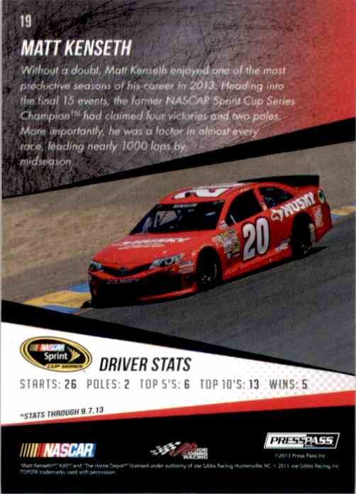 2014 Press Pass Matt Kenseth #19 card back image