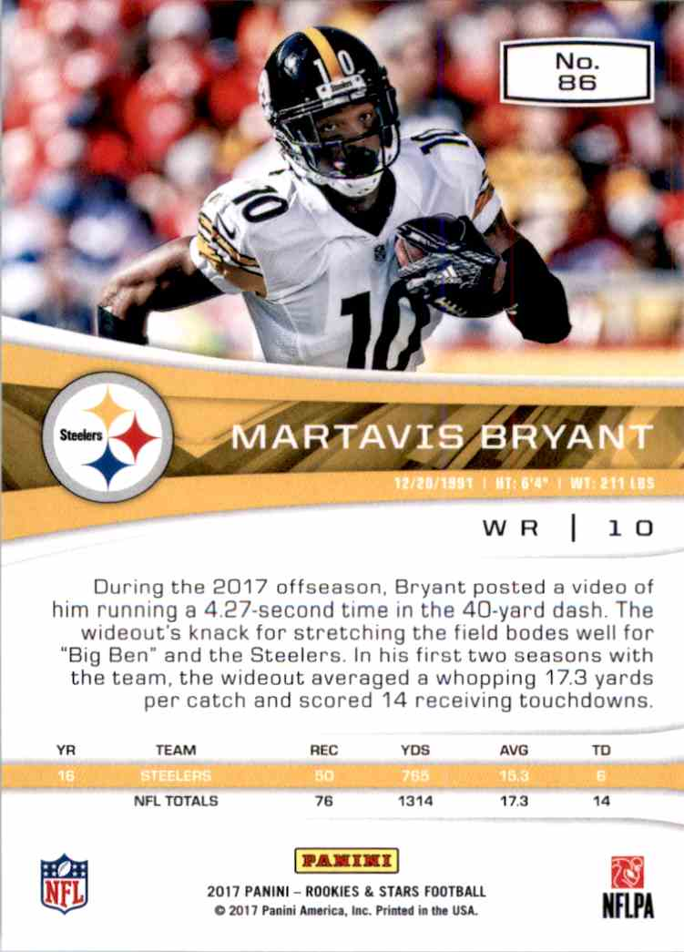 2017 Rookies And Stars Martavis Bryant #86 card back image