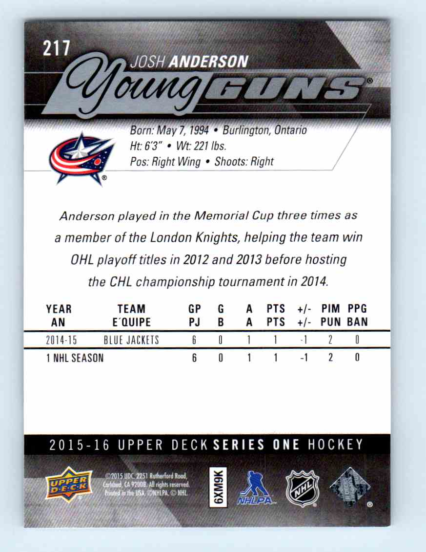 2015-16 Upper Deck Young Guns Josh Anderson #217 card back image