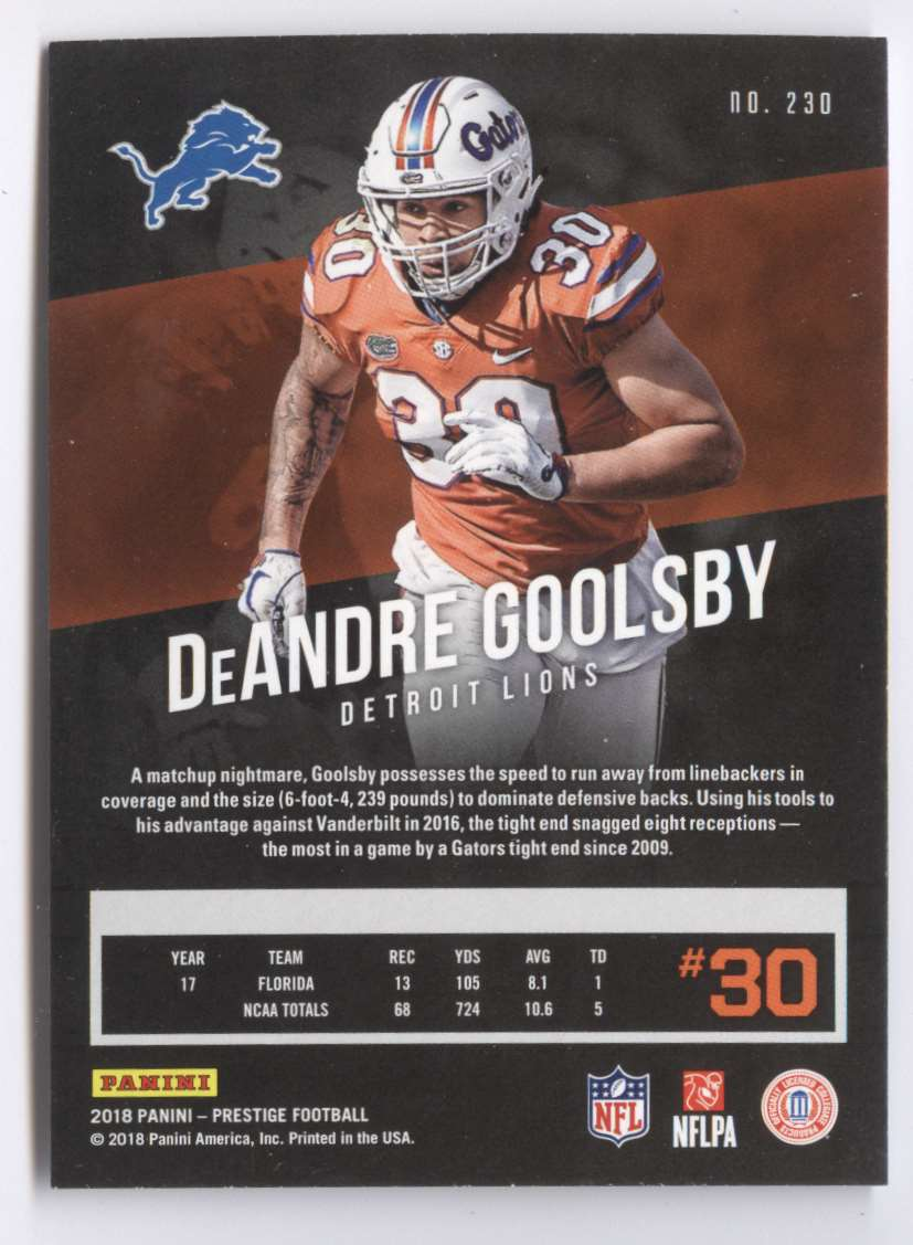 2018 Panini Prestige Extra Points Purple DeAndre Goolsby #230 card back image