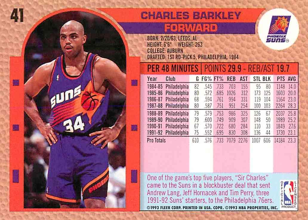 1993-94 Fleer Charles Barkley #41 card back image