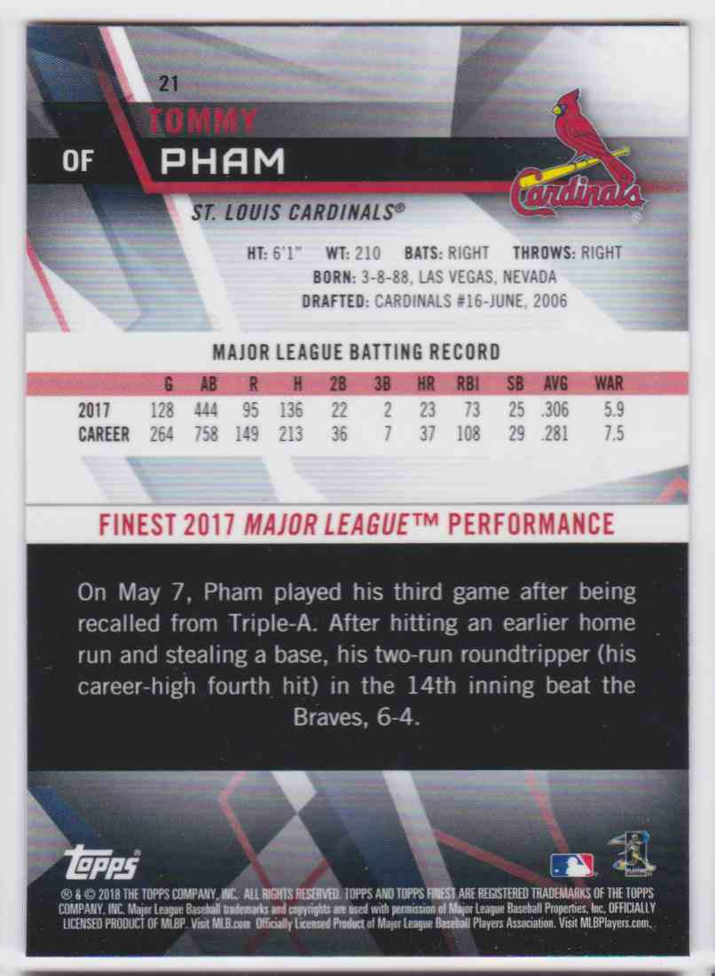 2018 Topps Finest Tommy Pham #21 card back image