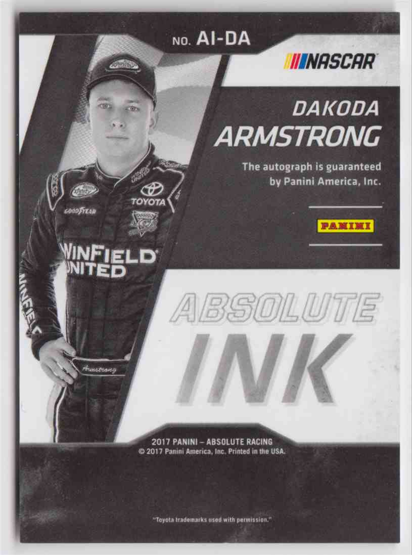 2017 Panini Absolute Ink Dakoda Armstrong #AI-DA card back image