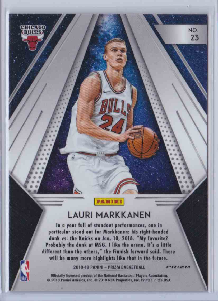 2018-19 Prizm All Day Silver Lauri Markkanen #23 card back image
