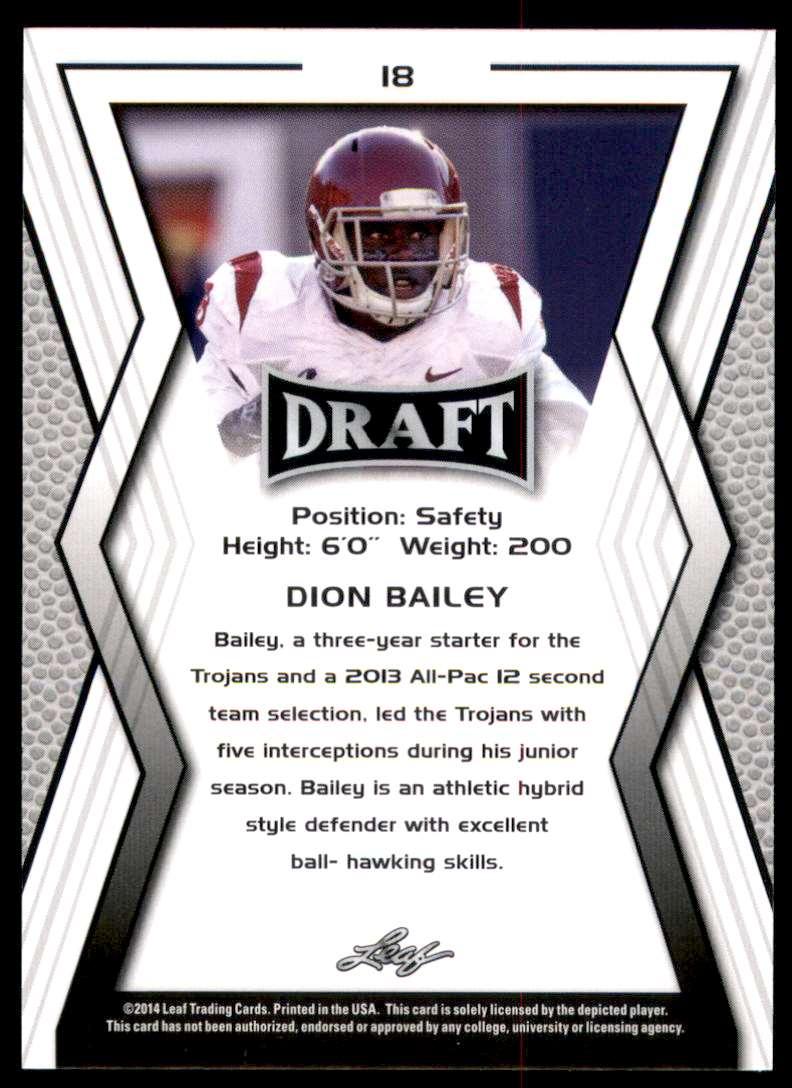 2014 Leaf Draft Dion Bailey #18 card back image