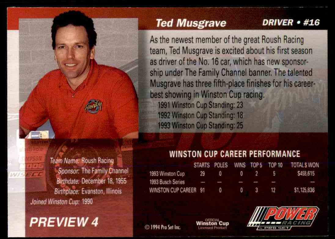 1994 Pro Set Power Racing Ted Musgrave #PREVIEW 4 card back image