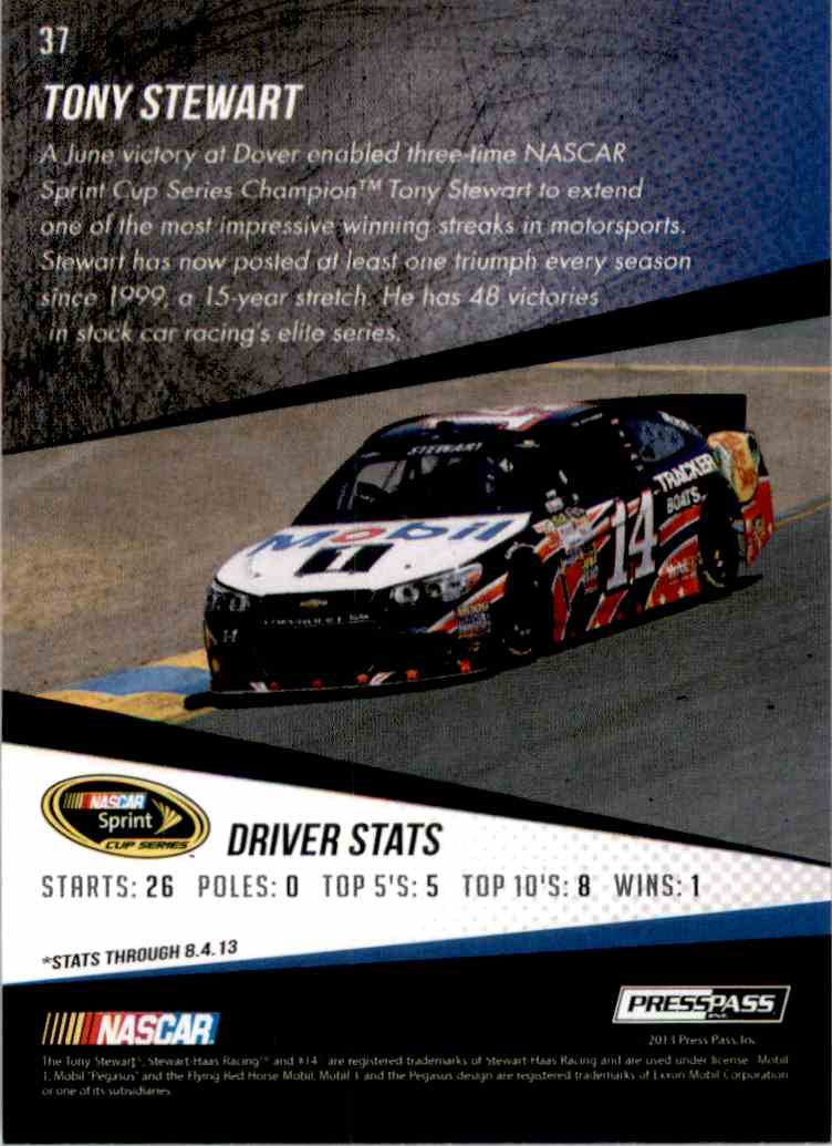 2014 Press Pass Tony Stewart #37 card back image