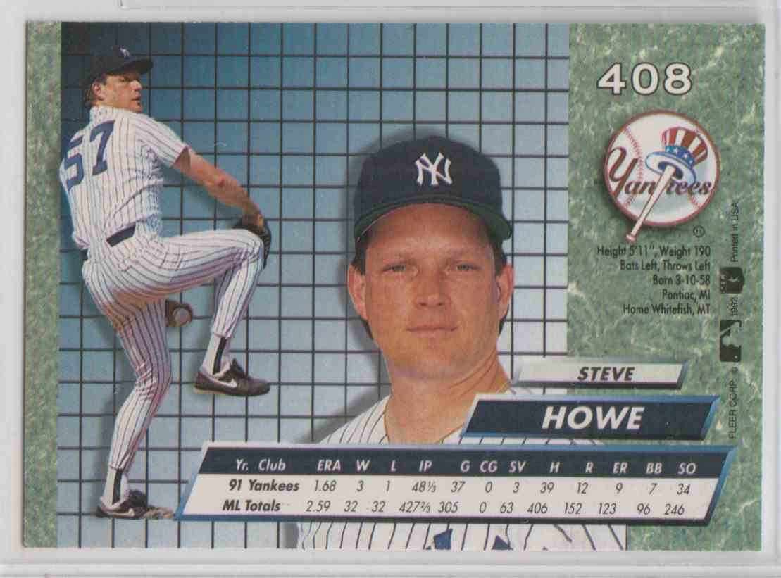 1992 Fleer Ultra Steve Howe #408 card back image