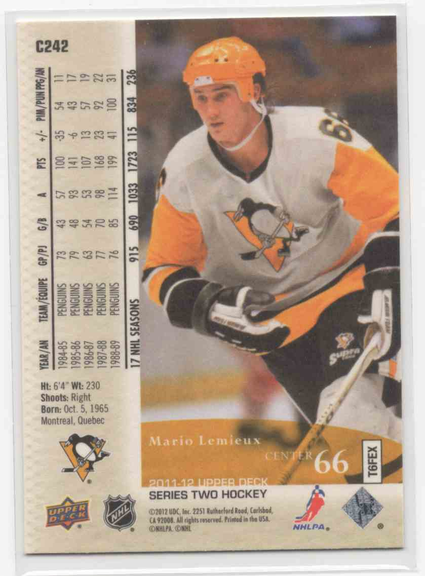 2011-12 Upper Deck Canvas Retired Stars Mario Lemieux #C242 card back image