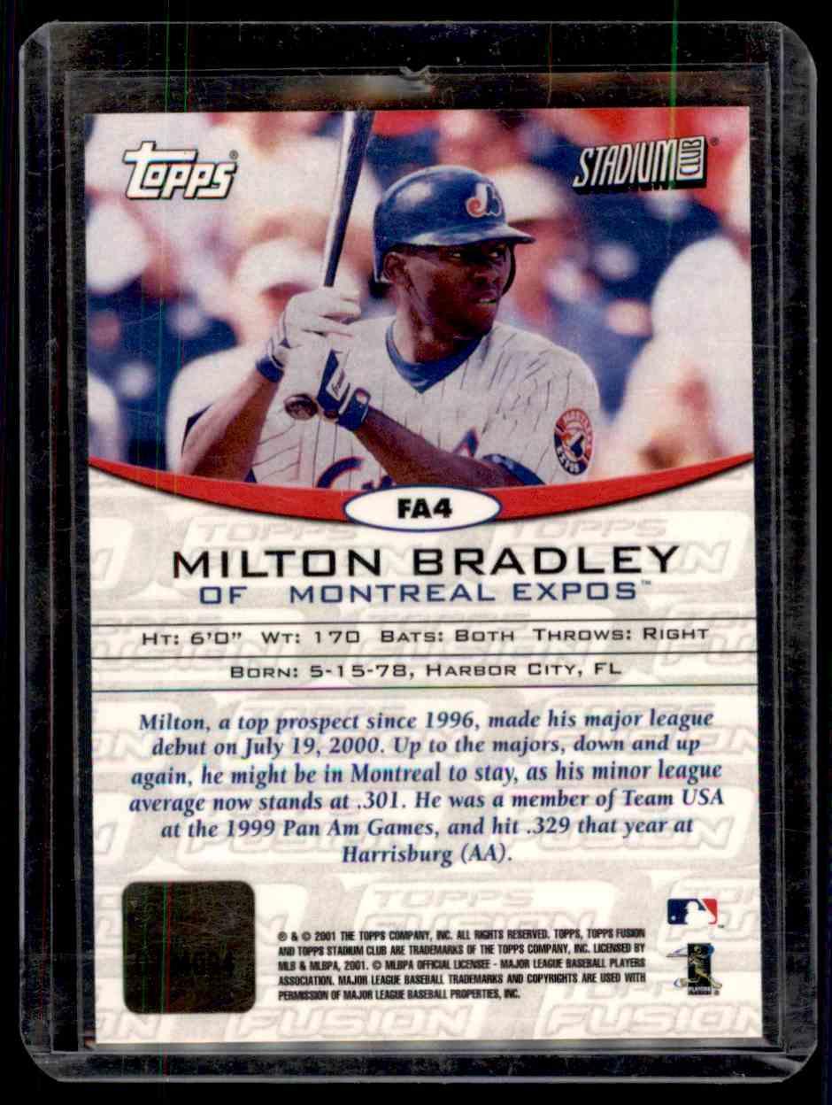 2001 Topps Fusion Milton Bradley #FA4 card back image