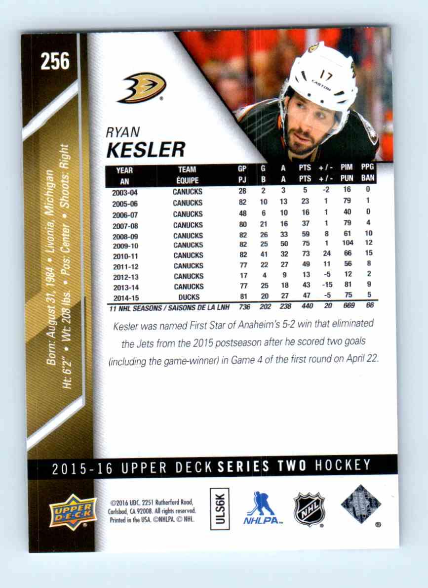 2015-16 Upper Deck Series Two Ryan Kesler #256 card back image