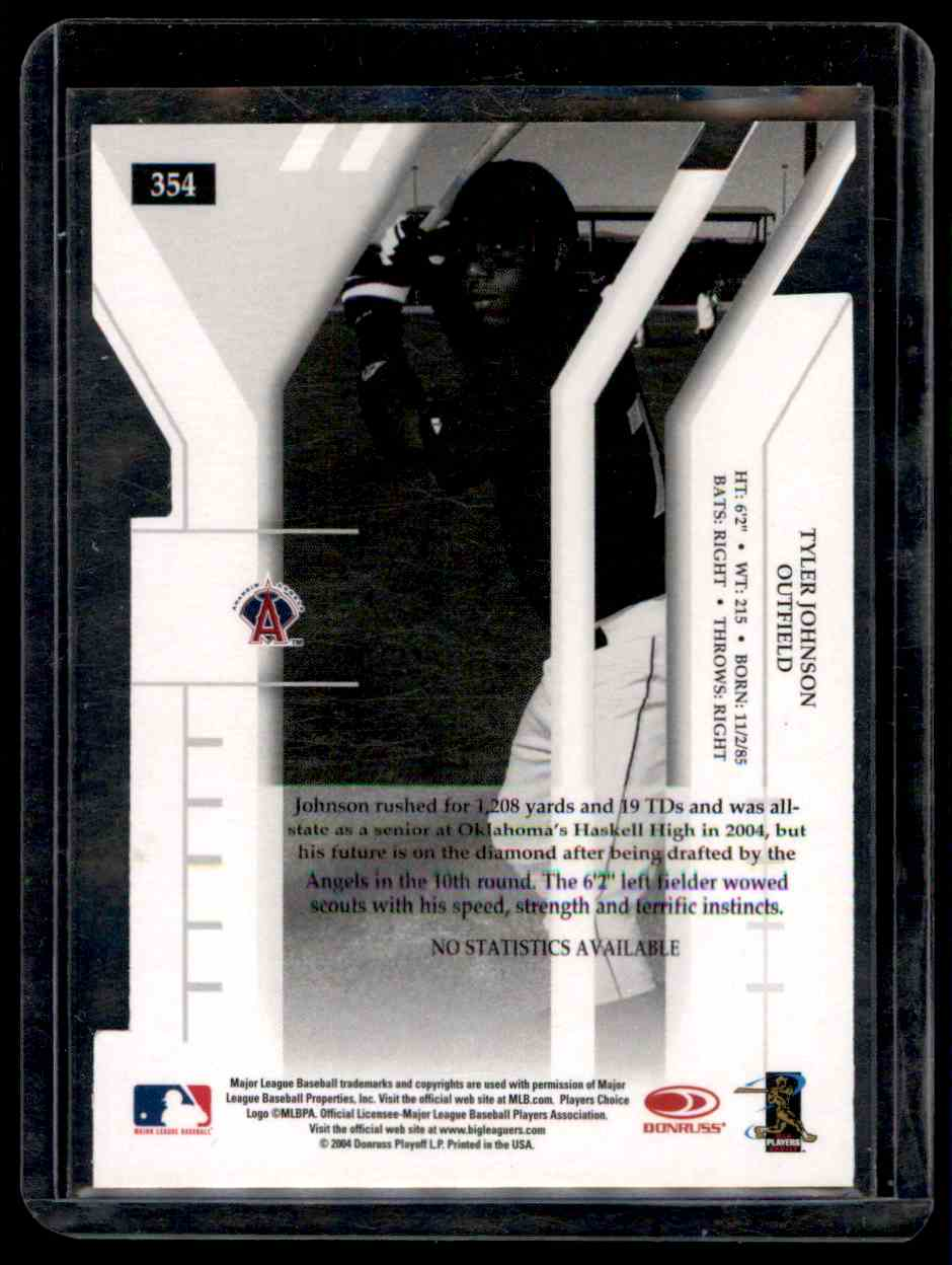 2004 Donruss Elite Extra Edition Signature Turn Of The Centrury Tyler Johnson #354 card back image