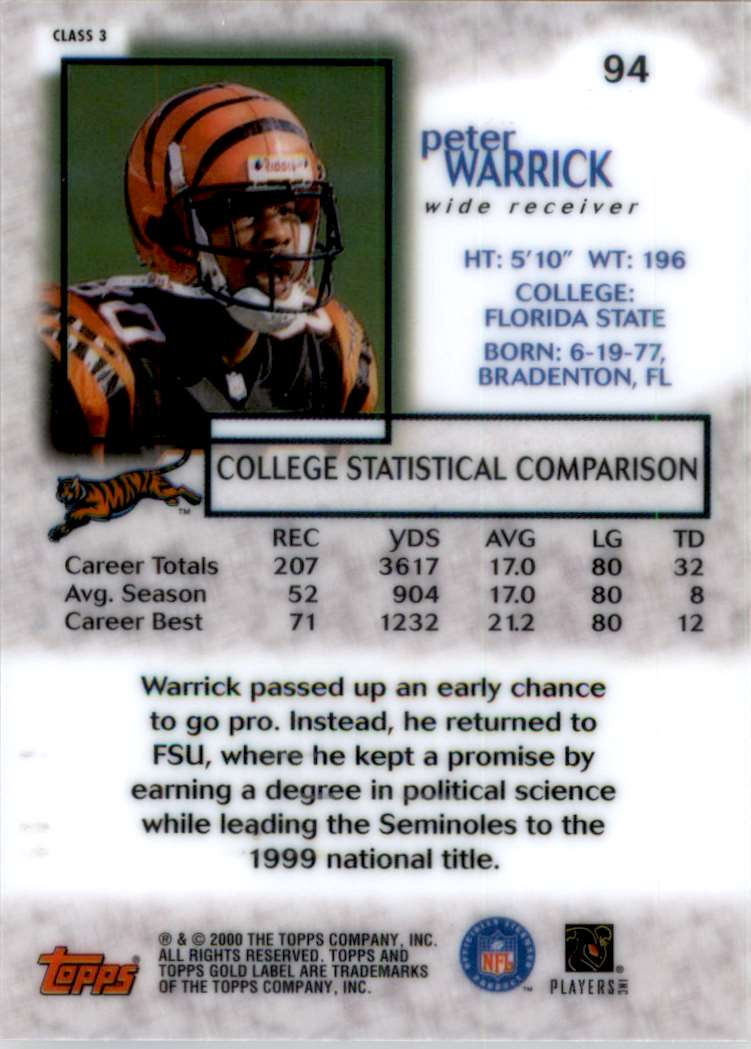 2000 Topps Gold Label Class 3 Peter Warrick #94 card back image