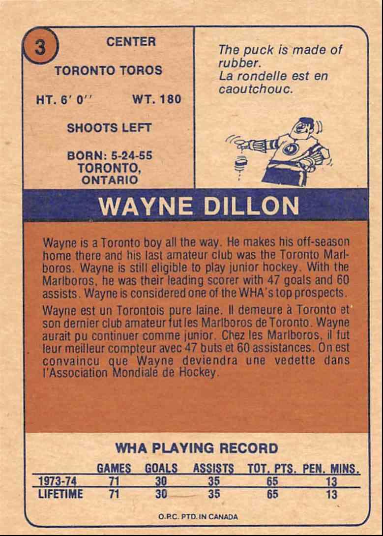 1974-75 O-Pee-Chee Wha Wayne Dillon #3 card back image