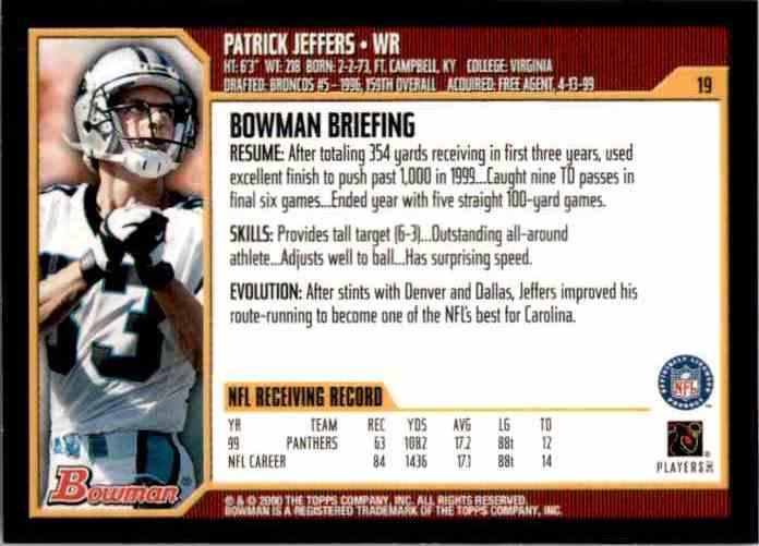 2000 Bowman Patrick Jeffers #19 card back image