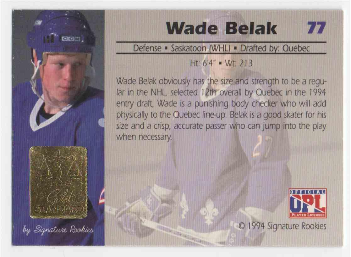 1994-95 Signature Rookies Gold Standard Wade Belak #77 card back image