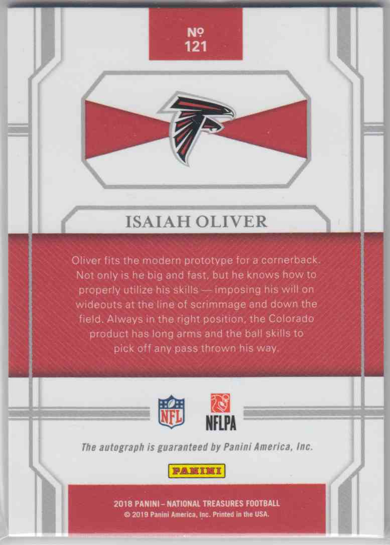 2018 Panini National Treasures Rookie Signatures Holo Silver Isaiah Oliver #121 card back image