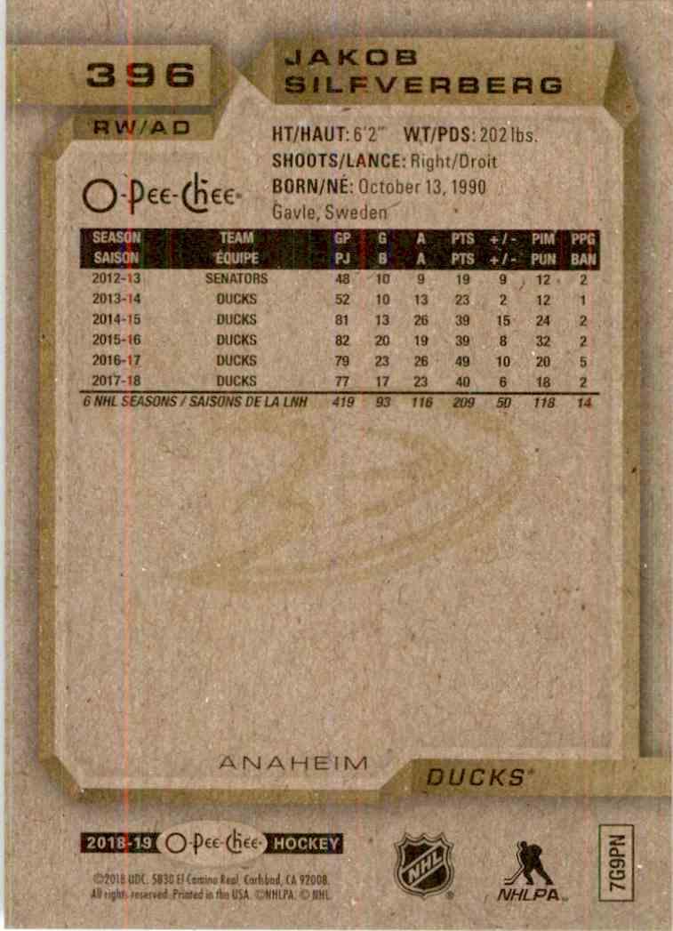 2018-19 O-Pee-Chee Jakob Silfverberg #396 card back image