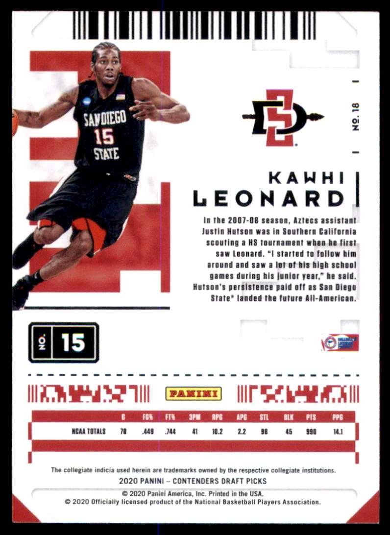 2020-21 Panini Contenders Draft Picks Game Ticket Purple Kawhi Leonard #18 card back image