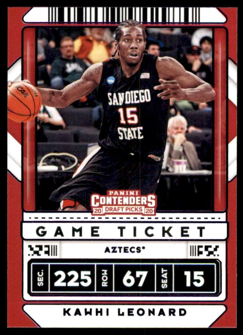 2020-21 Panini Contenders Draft Picks Game Ticket Purple Kawhi Leonard #18 card front image