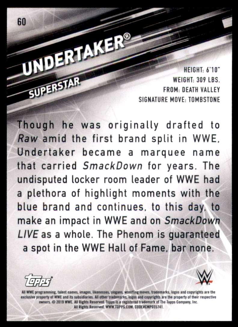 2019 Topps Wwe SmackDown Live Undertaker #60 card back image