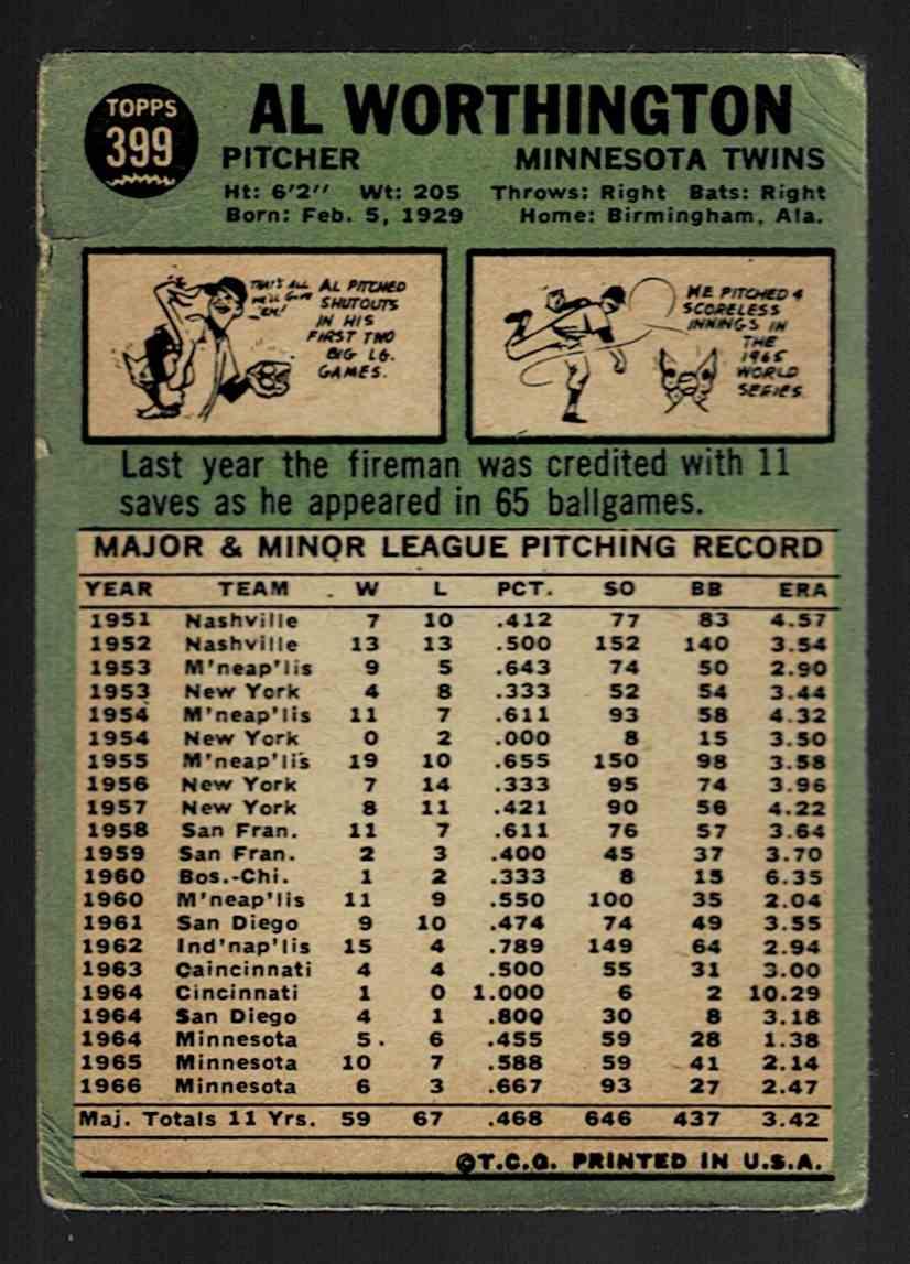 1967 Topps Al Worthington #399 card back image