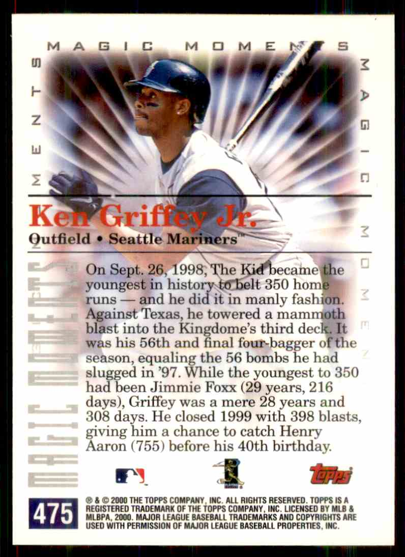 2000 Topps Magic Moments Ken Griffey JR. #475 card back image