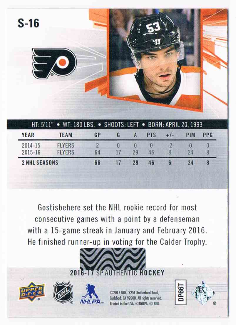 2016-17 Upper Deck SP Authentic Shayne Gostisbehere #S-16 card back image