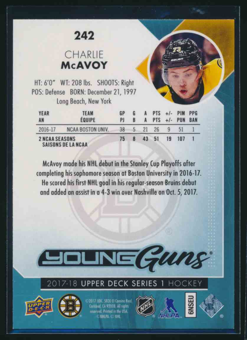 2017-18 Upper Deck Young Guns Yg Charlie McAvoy #242 card back image
