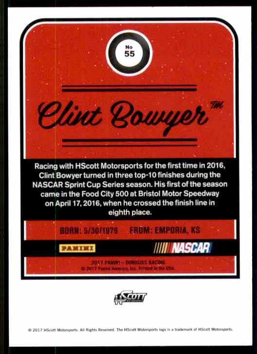 2017 Donruss Clint Bowyer #55 card back image