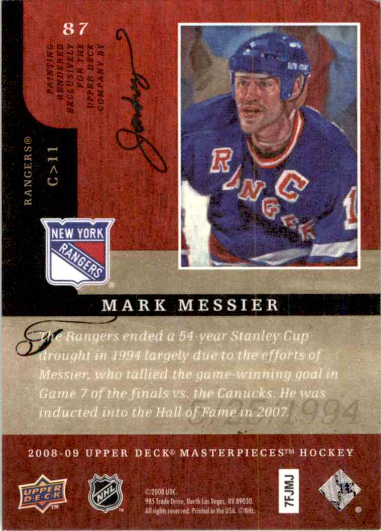 2008-09 Upper Deck Masterpieces Mark Messier #87 card back image
