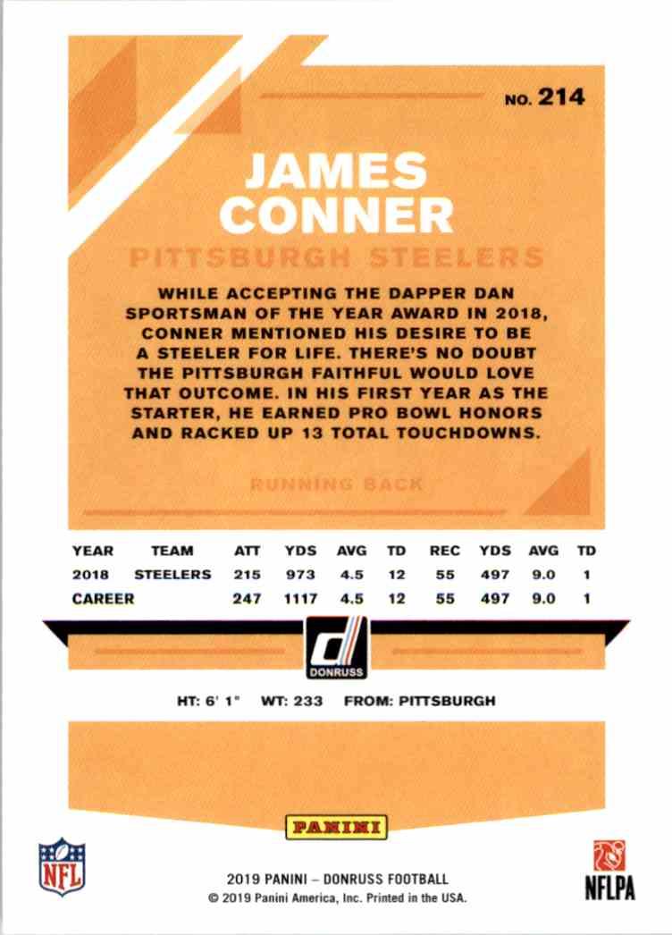 2019 Panini Donruss James Conner #214 card back image