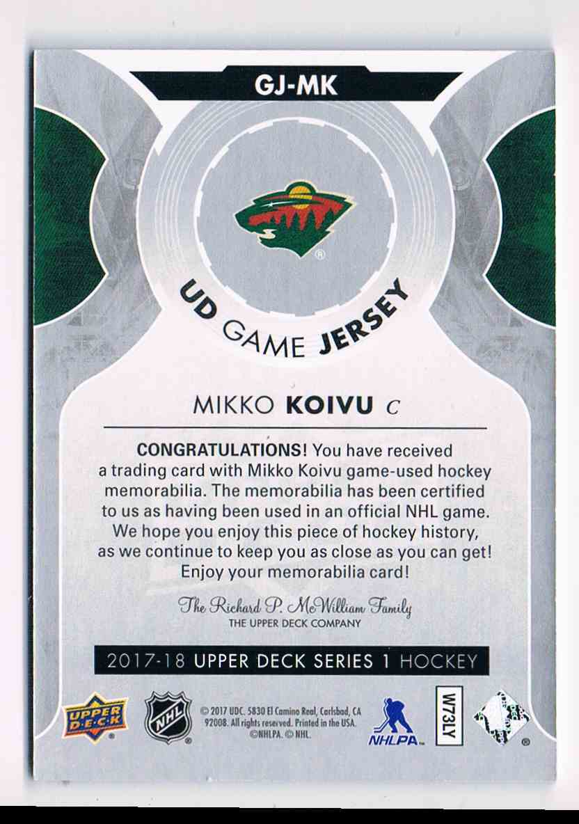 2017-18 Upper Deck UD Game Jersey Mikko Koivu #GJ-MK card back image