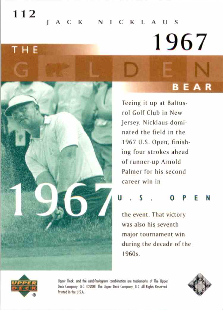 2001 Upper Deck J.Nicklaus Gb 67 Us Open #112 card back image
