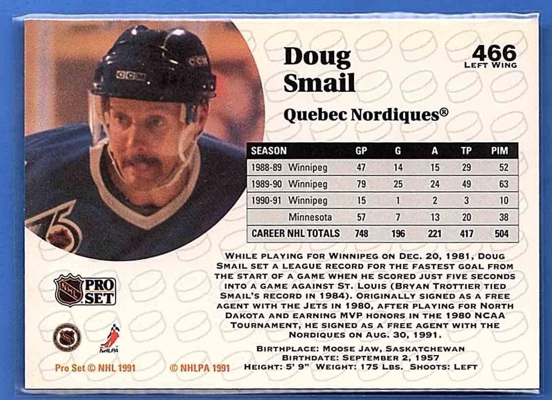 1991-92 Pro Set Doug Smail #466 card back image