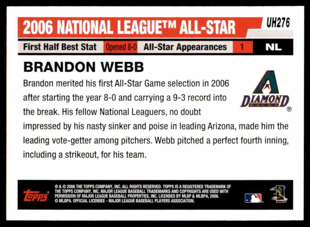 2006 Topps Update Brandon Webb As #UH276 card back image