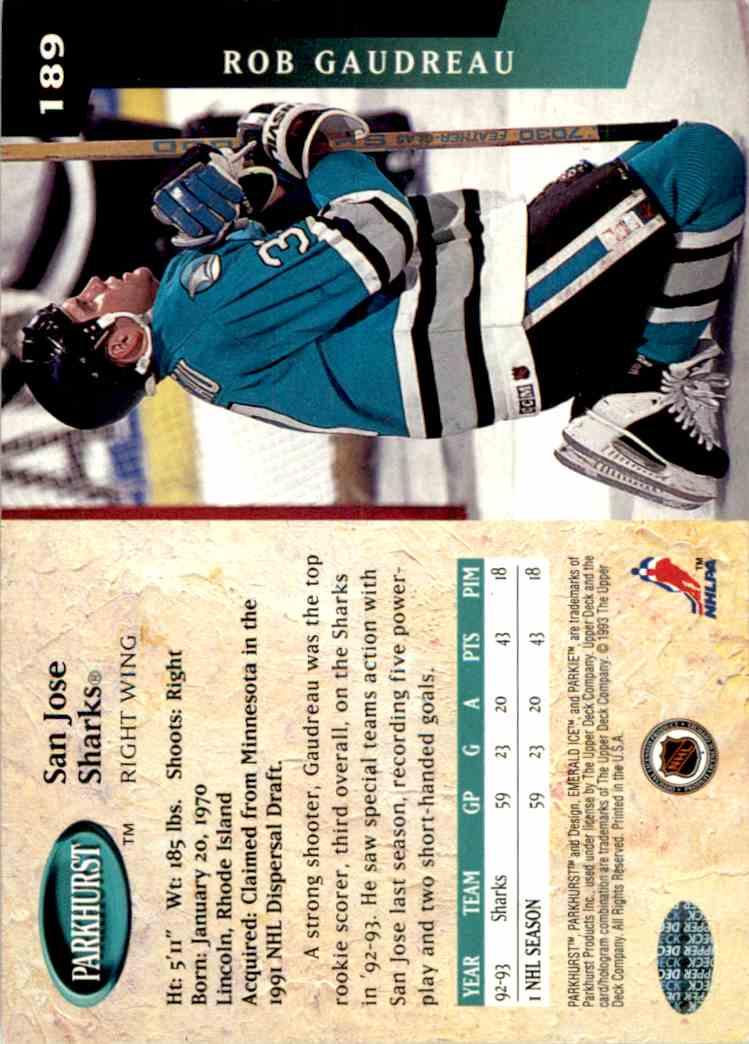 1993-94 Parkhurst Rob Gaudreau #189 card back image