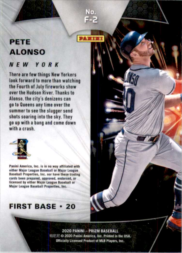 2020 Panini Prizm Fireworks Pete Alonso #2 card back image
