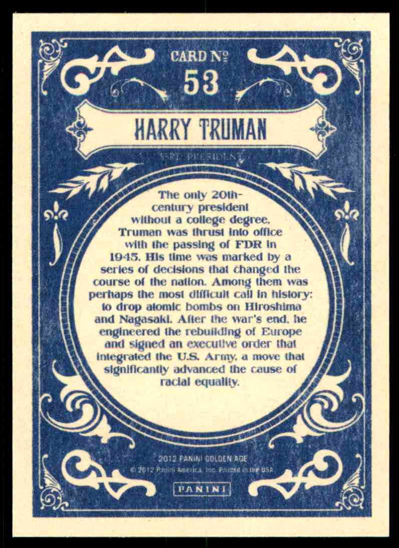 2012 Panini Golden Age Harry Truman #53 card back image